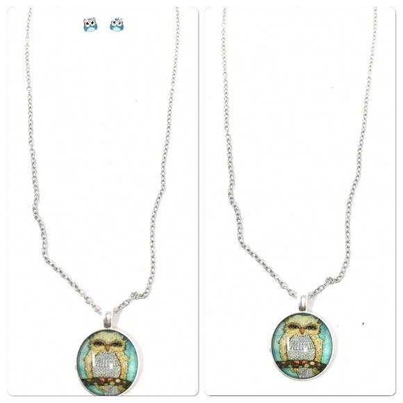 Jewelry - Owl Pendant Necklace & Owl Earrings Set NWOT